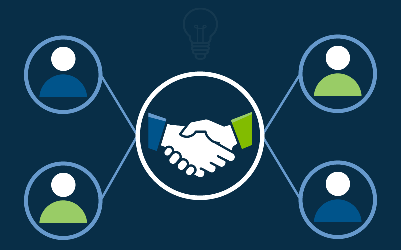 A vector illustration of a handshaking deal