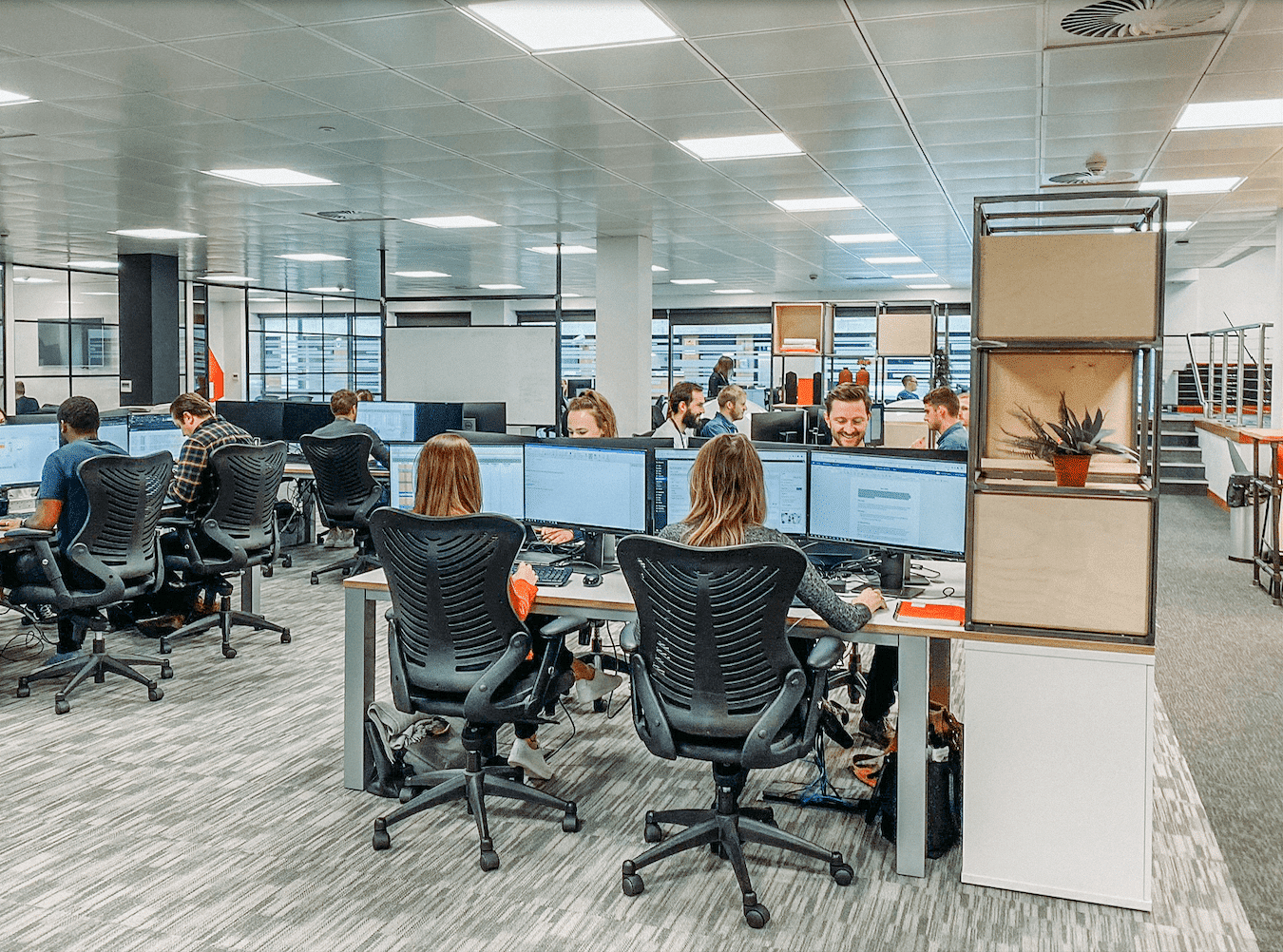People at desks in an office